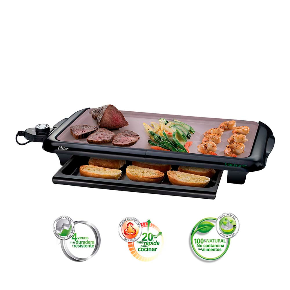 Plancha de asar el ctrica oster con bandeja especial y for Plancha electrica para cocinar